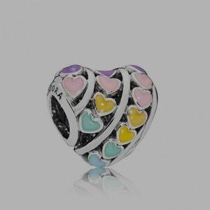 Pandora Multi colour hearts charm